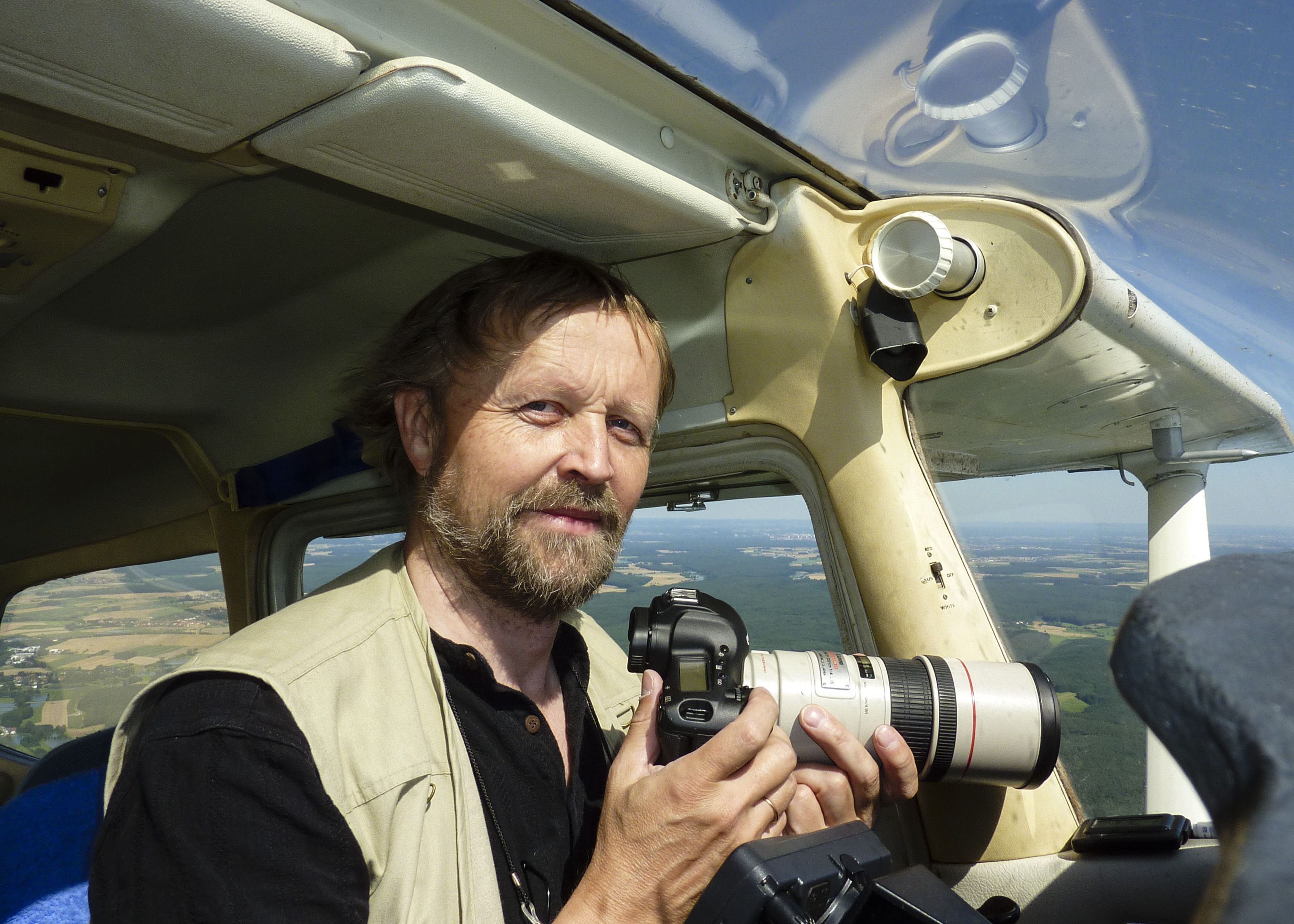 Klaus Leidorf, pictured in his Cessna 172
