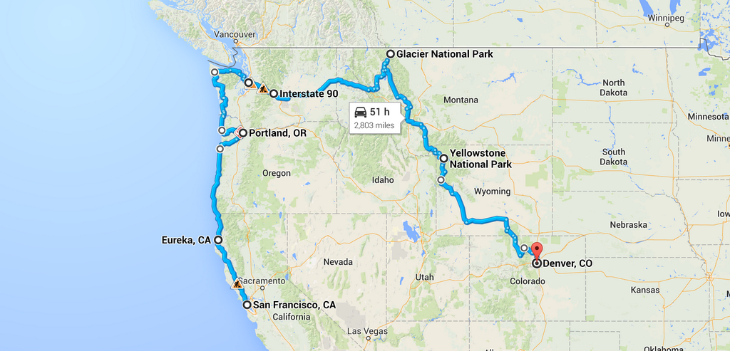 500px road trip route, from SF to Denver