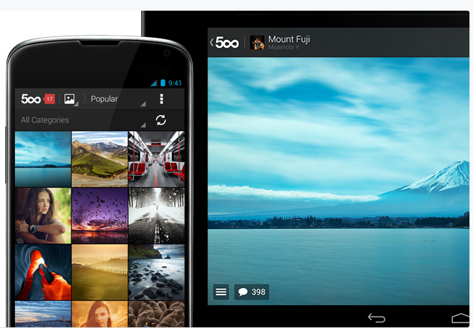 Download the free 500px Android app  on Google Play store