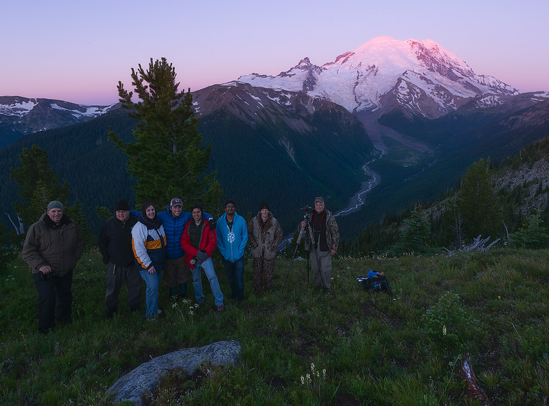 Dave Morrow with his workshop students after a night of Milky Way photography at Mount Rainier National Park.