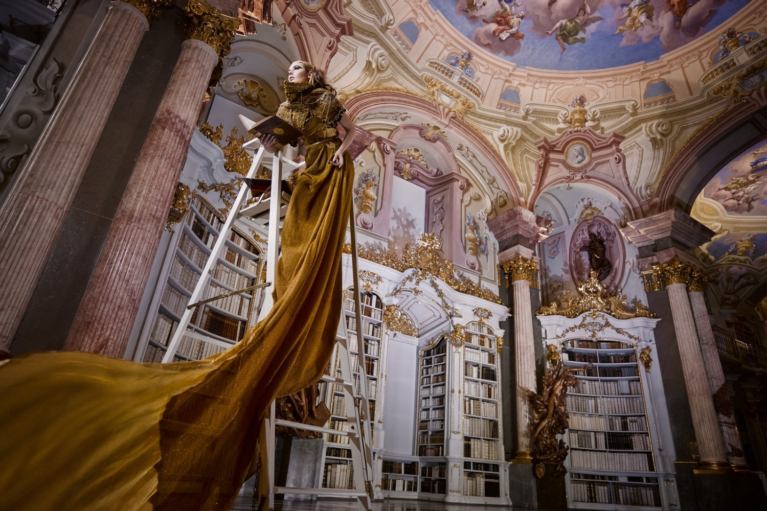 Dream Come True: A Fairytale Photo Shoot in the Oldest Monastic Library on Earth