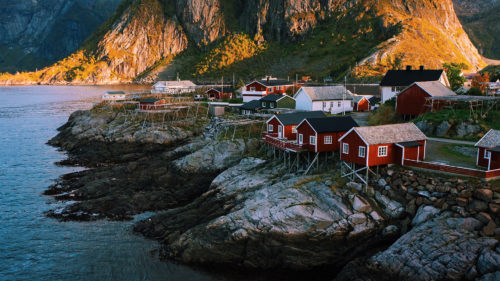 A sunset view over the harbour at Lotofen Islands