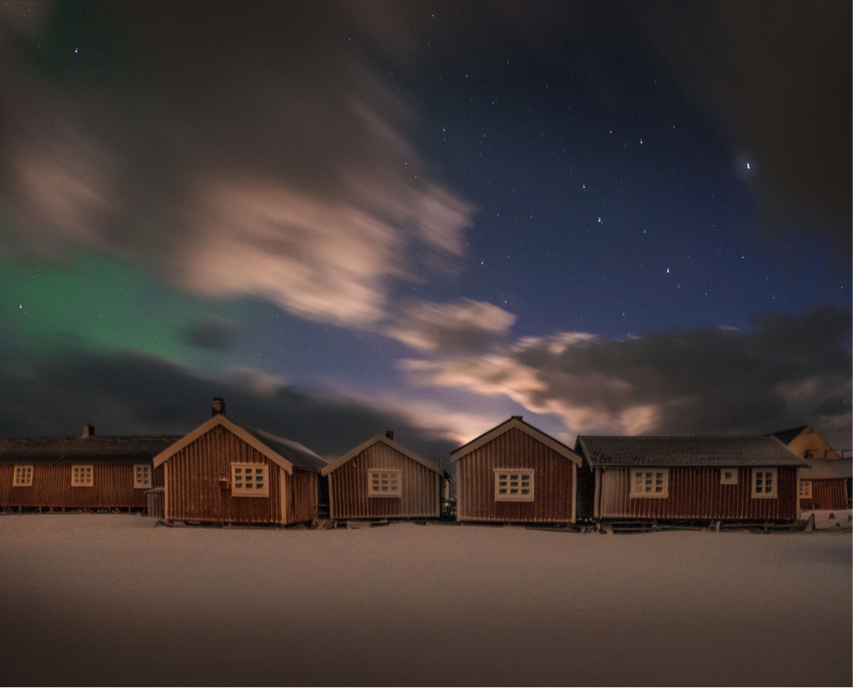 Our accommodation in Hamnoy after Ole hurricane hit the island. Only the full moon and the auroras lit Lofoten that night