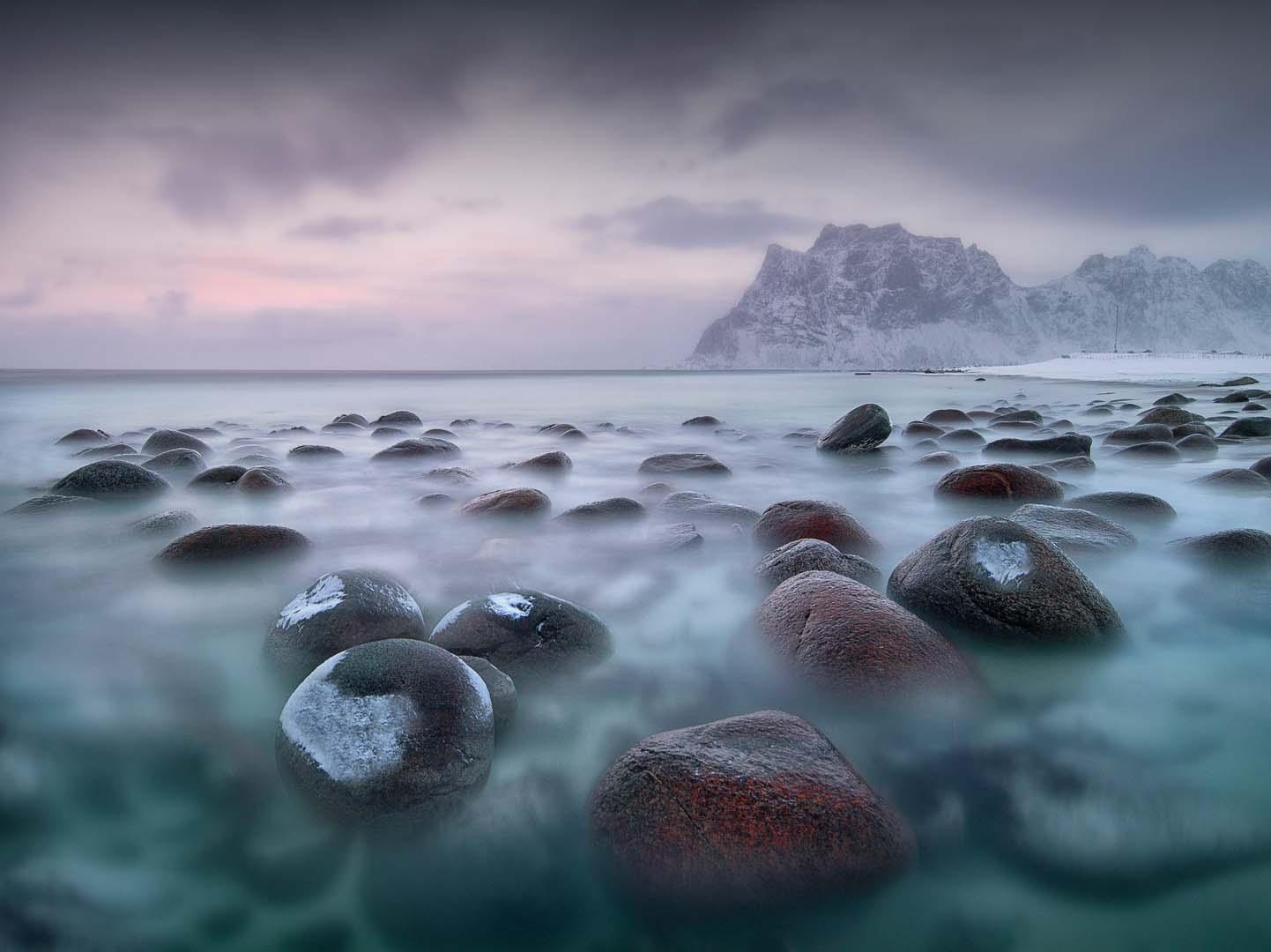 Uttakleiv beach sunrise