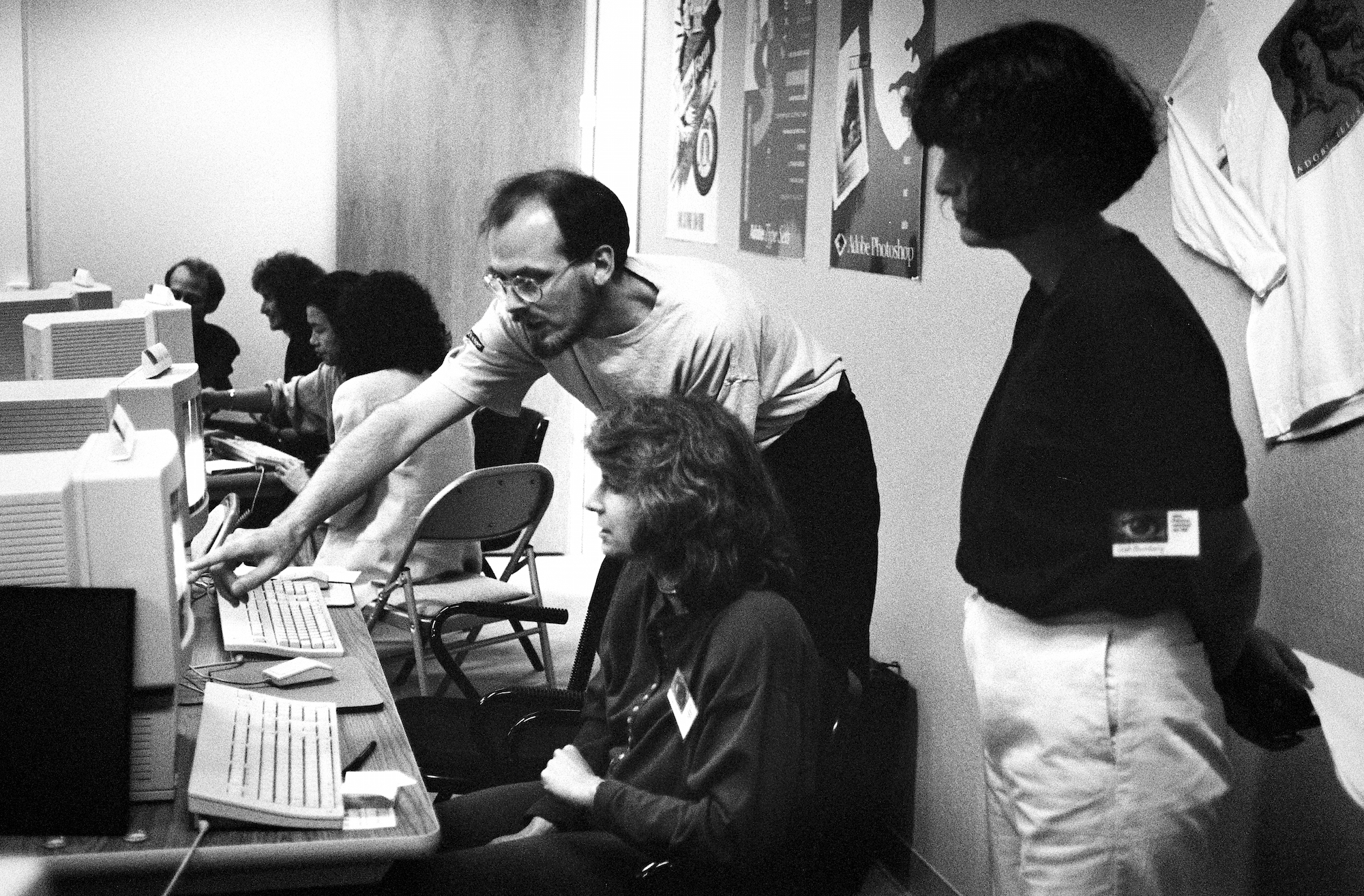 Russell Brown, Adobe creative director, and attendees of Adobe's 1990 Photoshop Invitational, 1990