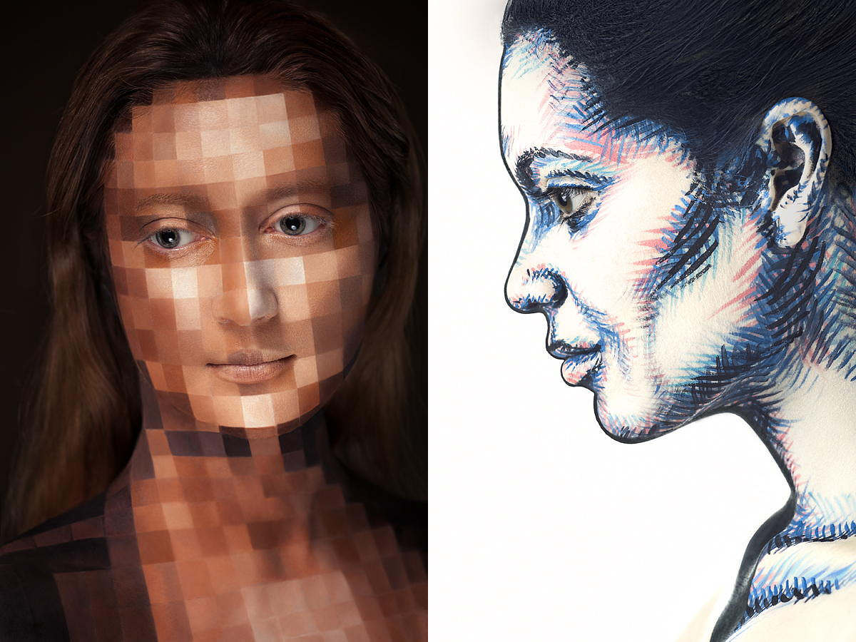 Mind-Blowing Portraits Made to Look Like 2D Drawings Using Makeup and Perspective