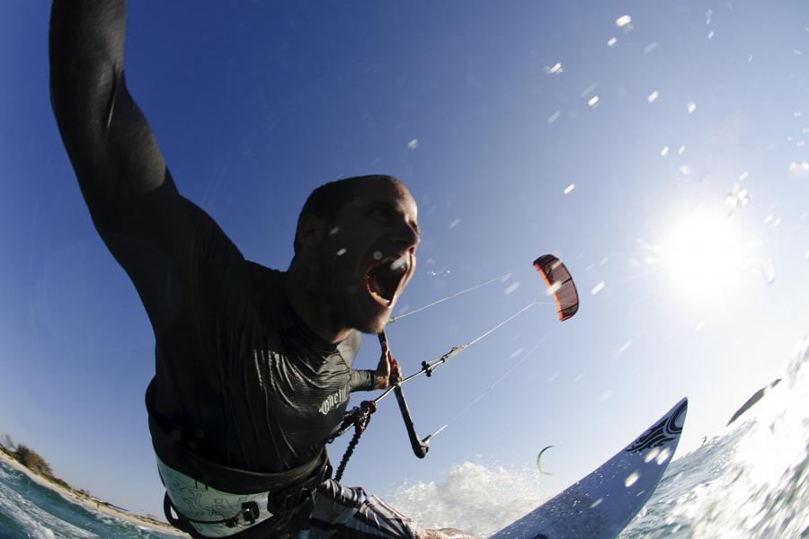 Kitesurfing in the Mediterranean Sea