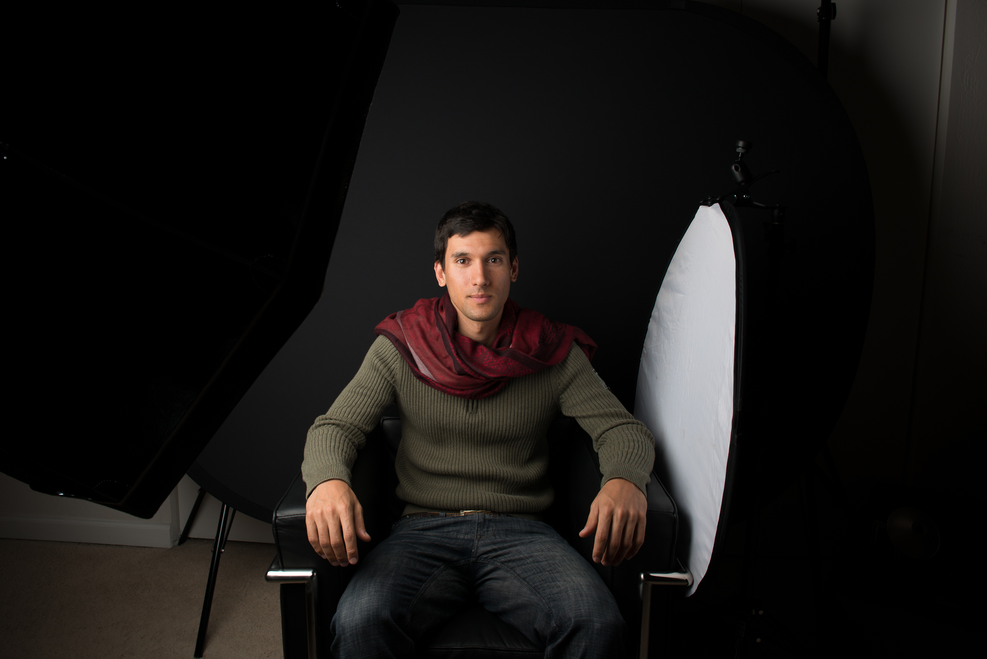 My model, Andrew, in my home studio with 1 monolight in an Elinchrom Octabox and a reflector nearby.