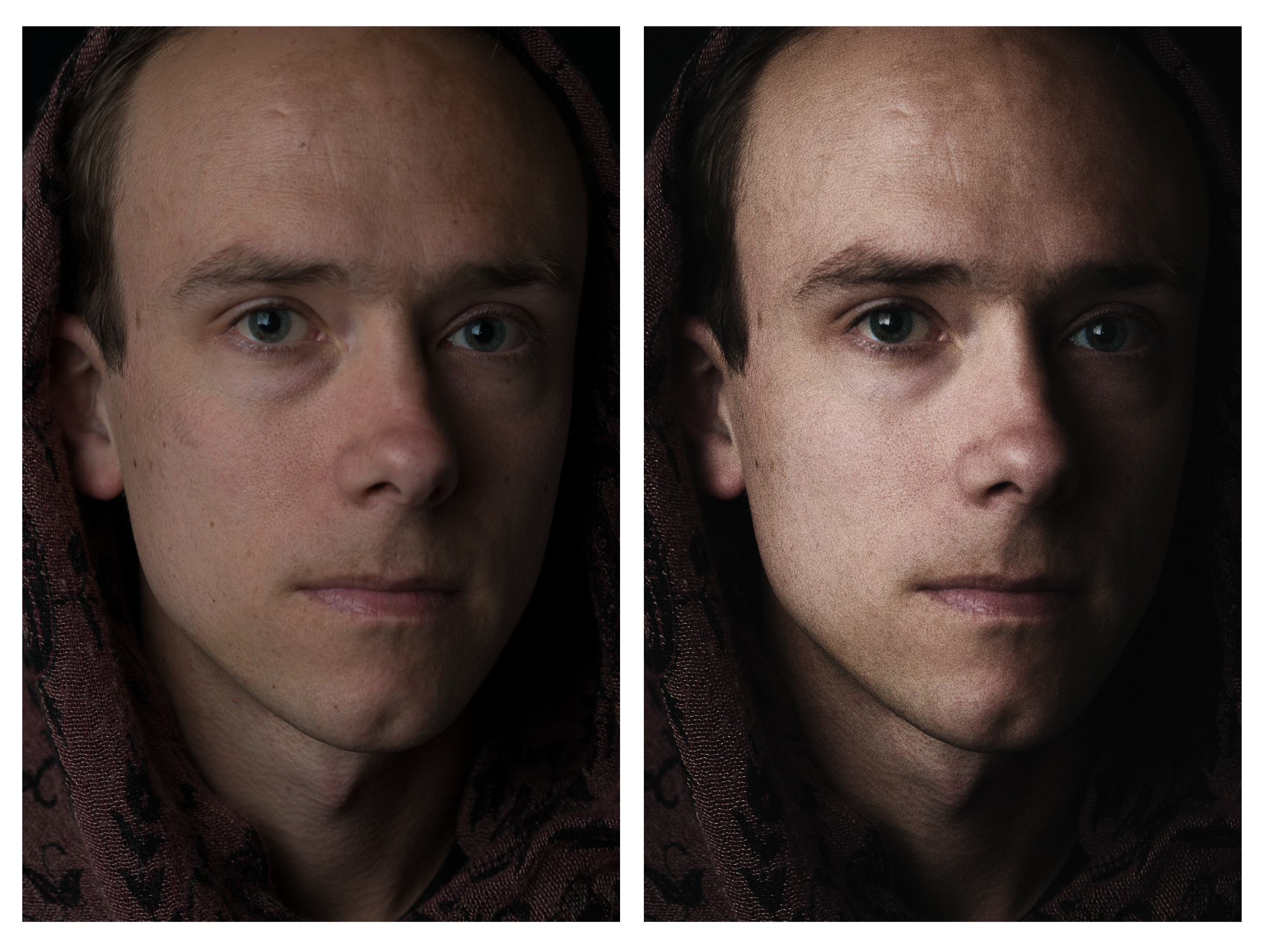 My image of Brian in-camera and the final product.