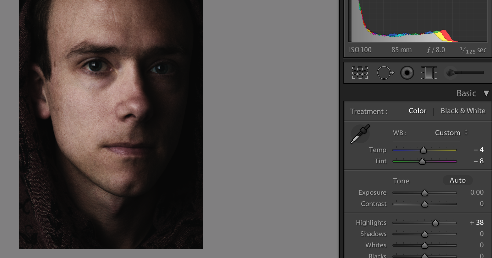 At the last minute I decide to bump the highlights and adjust the temperature to personal taste in Lightroom.