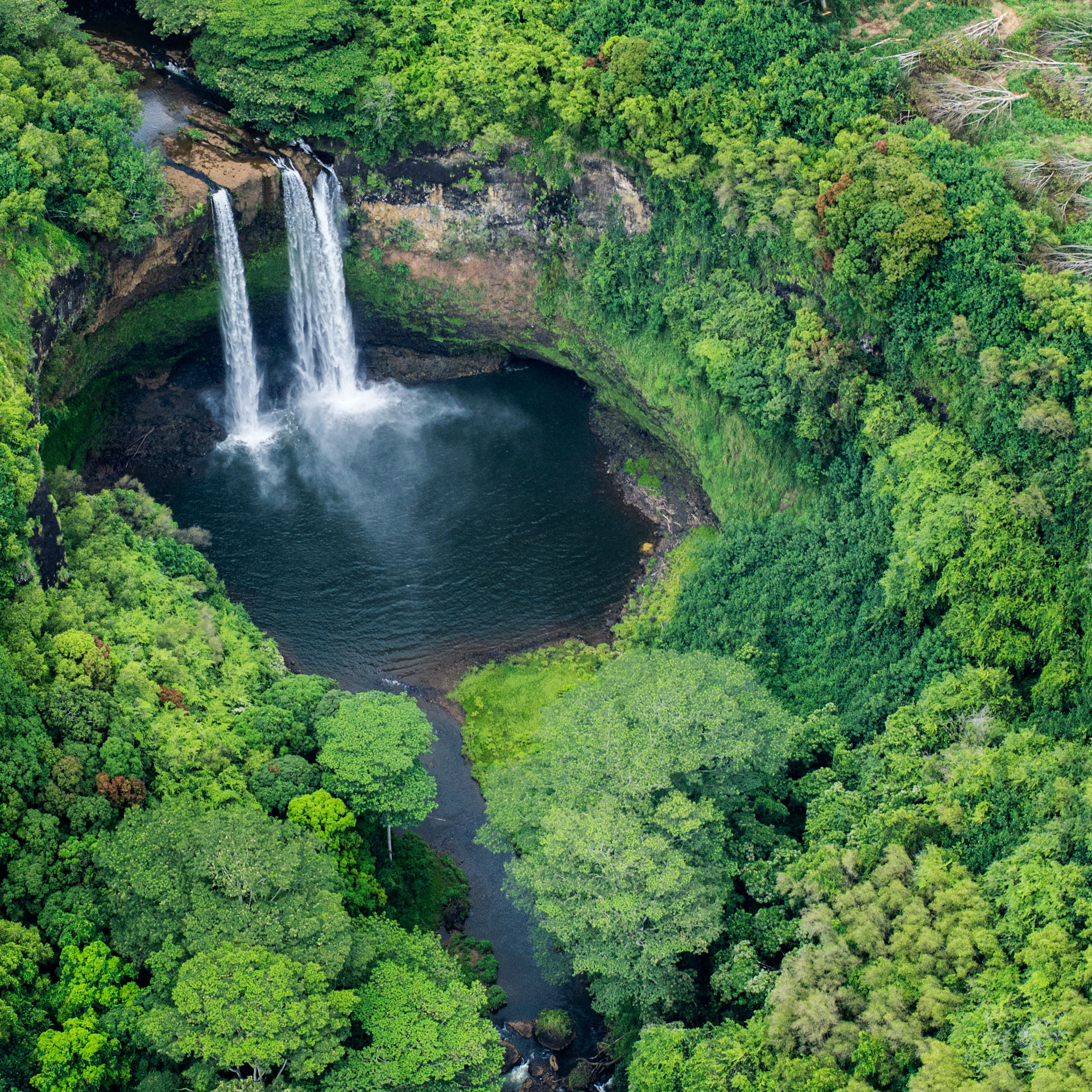 Aerial views of Wailua falls, Kauai