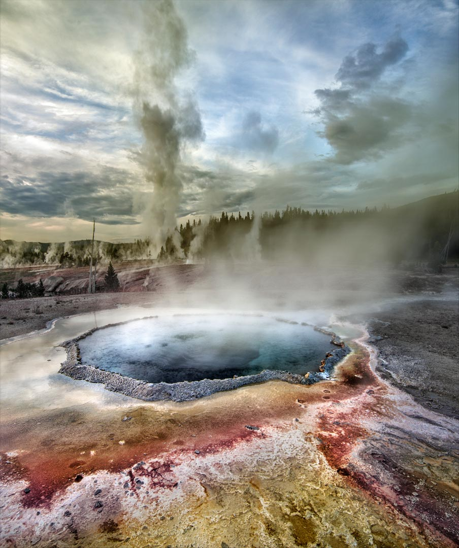 Grand Geyser erution, geothermal basin and pool near Old Faithful area, Yellowstone National Park