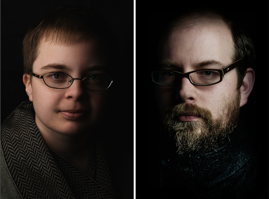 For Hannah and Obediah, I used broad lighting (light is illuminating the portion of the face closest to the camera). I could have used short lighting but it would involve raising the light higher or tilting the glasses in undesirable ways in order to keep the light outside the angle of reflection.