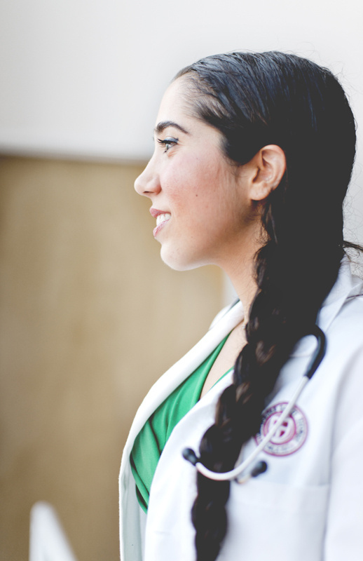 Close up profile of medical doctor.