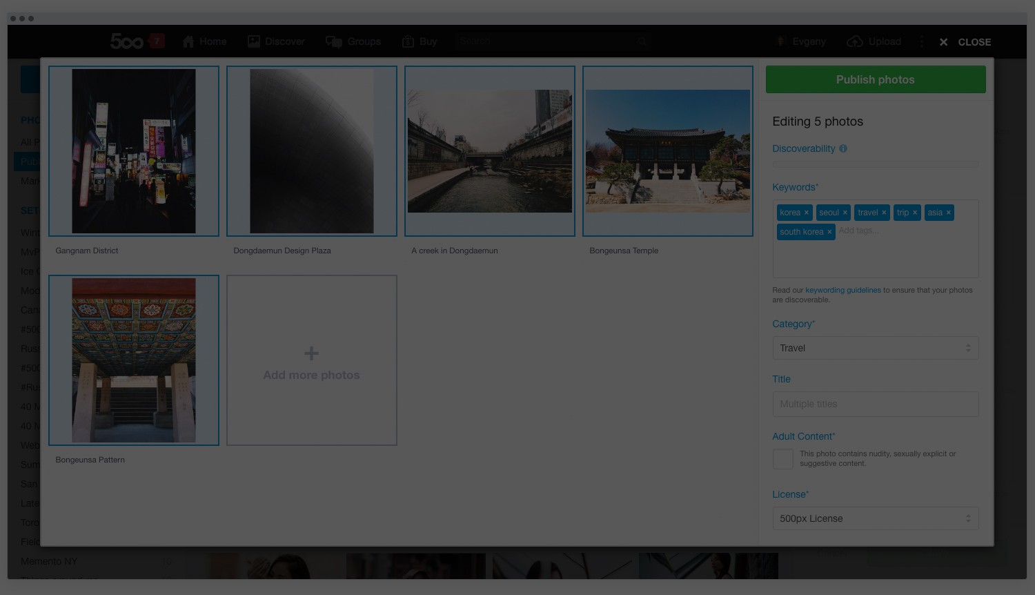 See the New 500px Uploader in Action, Now with Bulk Upload!