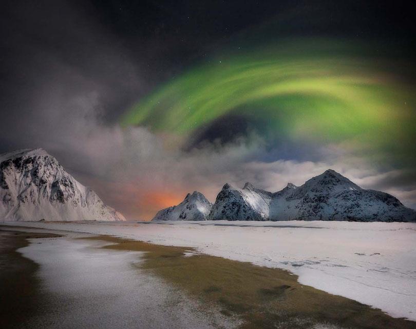 Lofoten, manipulated image / aurora