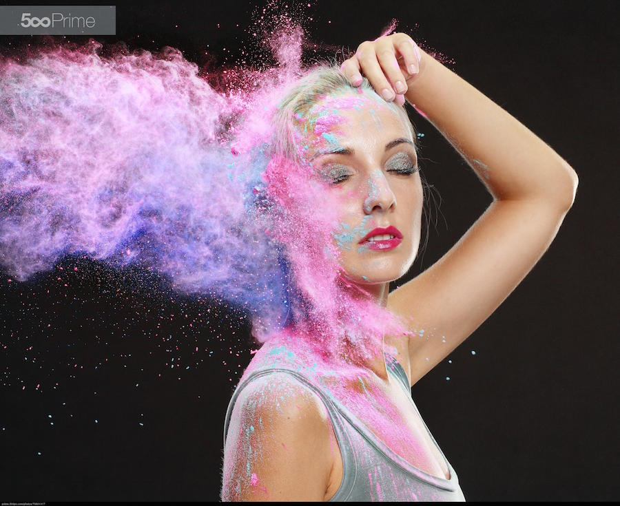 editorial photography - commercialgirl with colored powder