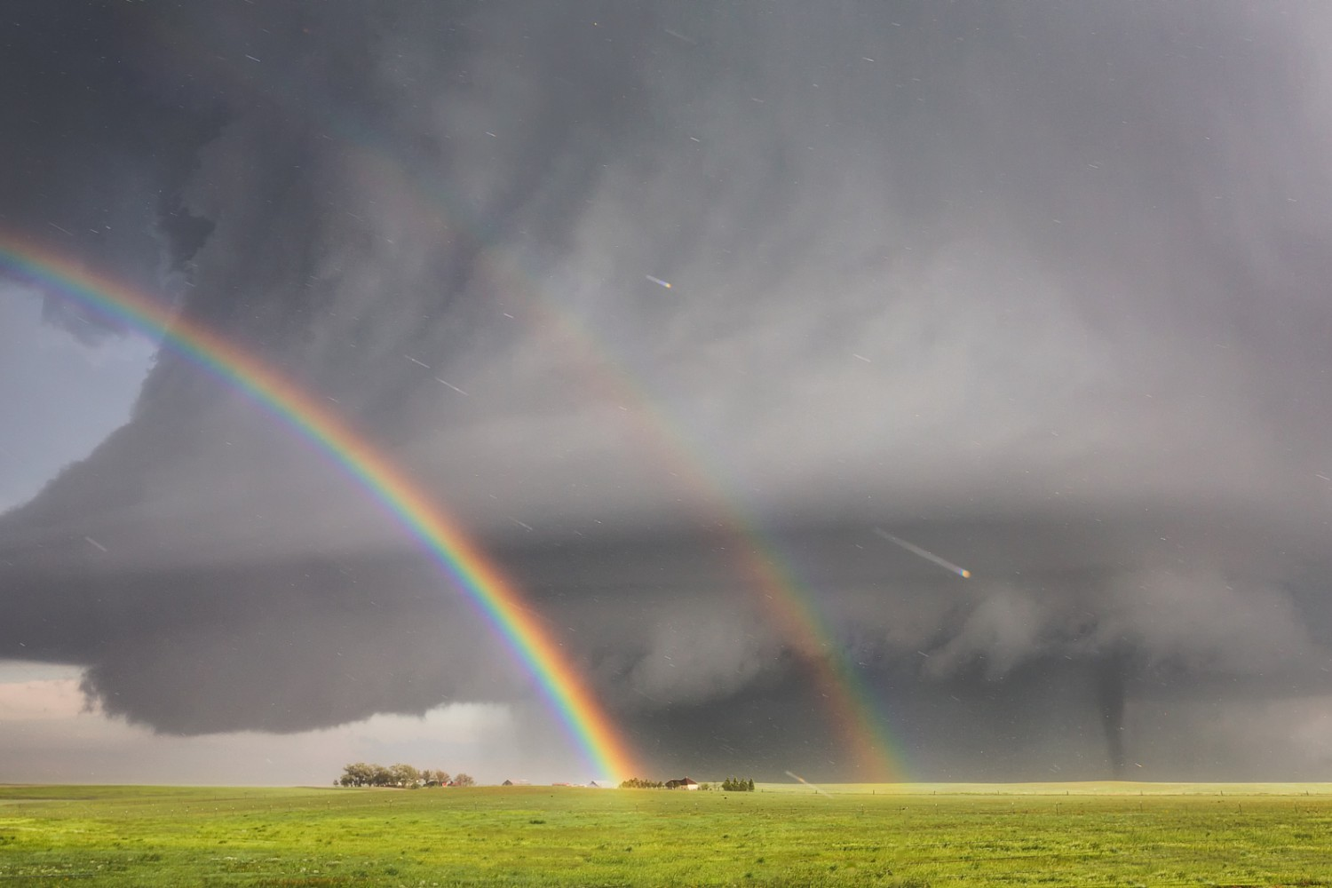 Mother Nature Follows Double Tornados with Double Rainbow