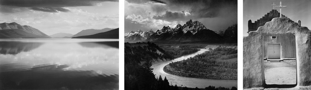 Photos by Ansel Adams. Left to right: Evening. McDonald Lake, Glacier National Park. 1942. | The Tetons and the Snake River. 1942. | Church. Taos Pueblo. 1942.