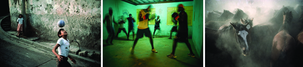 Photos by David Alan Harvey. Left to right: Tegucigalpa. Honduras. 1990. | Young men spar at a community center in a favela, or shantytown. Brazil. Salvador, Bahia. 2002. | Wild ponies kick up dust during an annual round-up. Spain. Sabuceda. 1977.