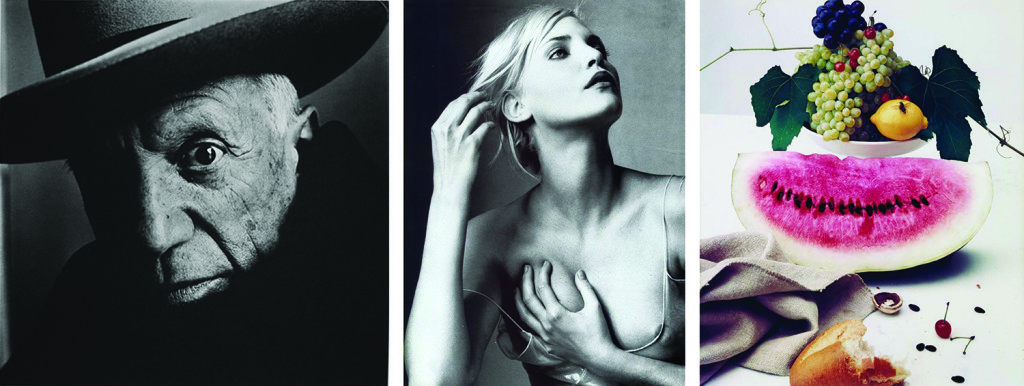 Photos by Irving Penn. Left to right: Picasso. Cannes. 1957. | Nadja Auermann. 1994. | Still life with Watermelon. New York. 1948.