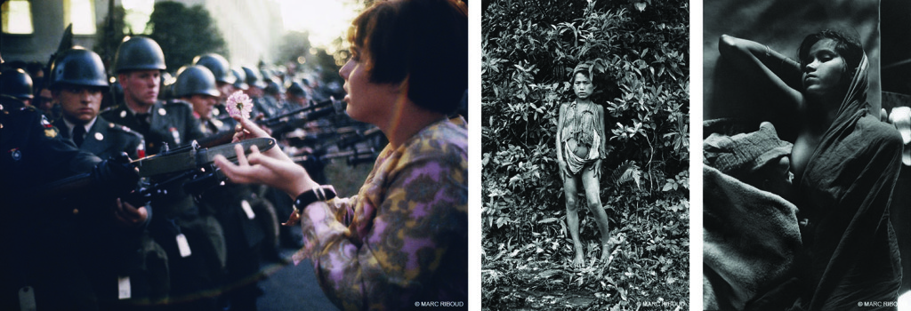 Photos by Marc Riboud. Left to right: March for Peace in Vietnam. Washington, DC. 1967. | The wild boy taken out from the jungle sees a photographer for the first time. Nepal. 1956. | Young mother in a refugee camp in Calcutta. India. 1971.