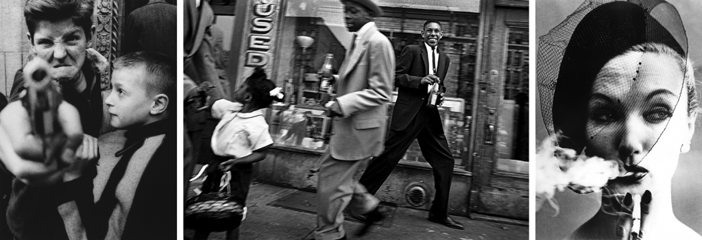 Photos by William Klein. Left to right: Gun 1. New York. 1955. | Harlem.1955. | Vogue. Paris. 1958.