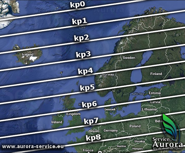 Kp index, source: www.aurora-service.eu