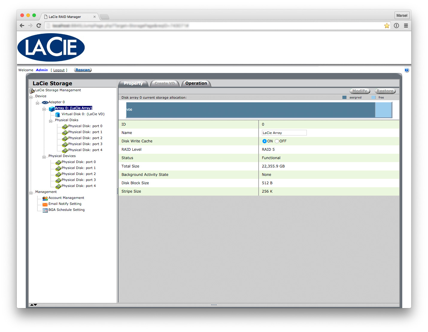 The user interface of the LaCie RAID Manager.
