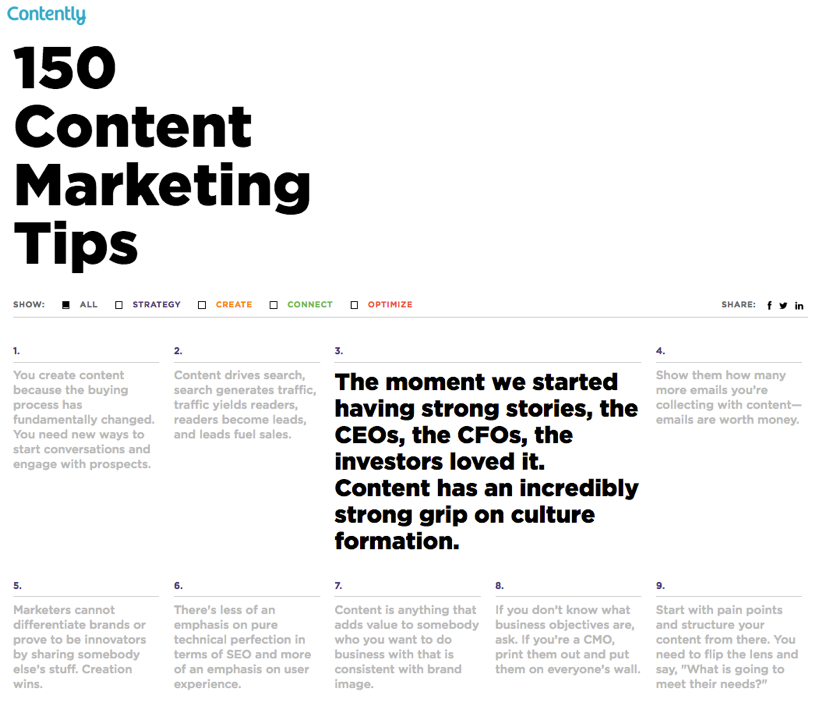 150 Content Marketing Tips