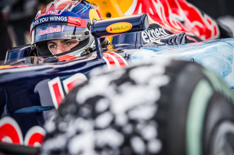 Max Verstappen prepares to race during the F1 Showrun at the Hahnenkamm in Kitzbuehel, Austria on Jannuary 12, 2016.