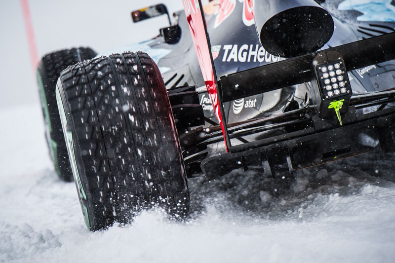 Max Verstappen performs during the F1 Showrun at the Hahnenkamm in Kitzbuehel, Austria on Jannuary 12, 2016.