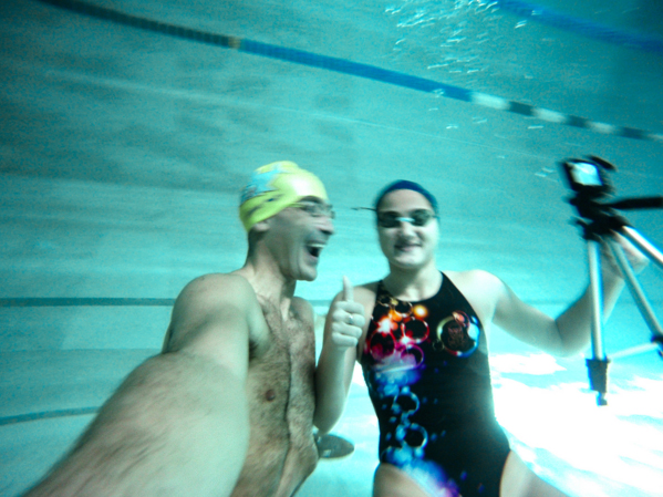 Giuseppe Tiravanti with one of his favorite swimmer models, Giulia Lazzari.
