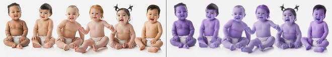 Bunch of babies test images with correct colors on left, incorrect on right