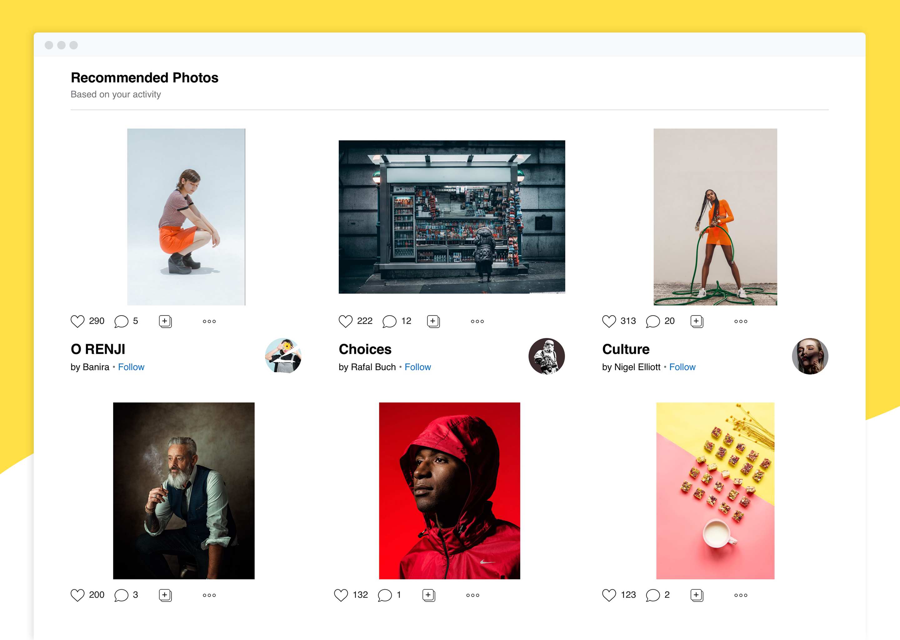 A view of recommended content in the new 500px Home Feed