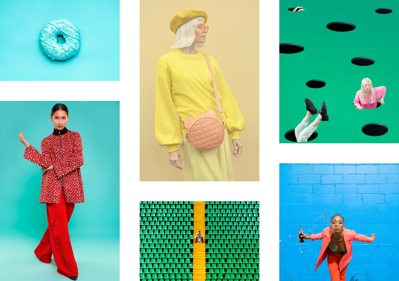A collage of bright, pop-art-inspired photos