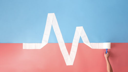 Blue and pink flatly with toilet paper showing a heart beat graph