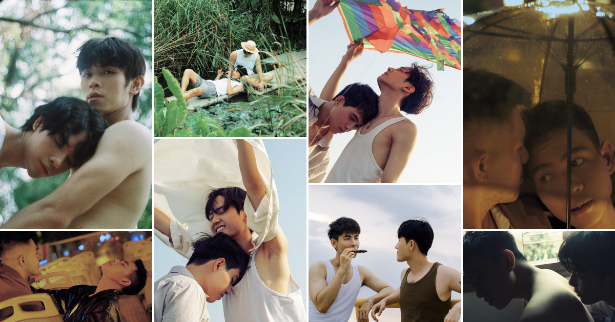 Collage of images showing the LGBTQ community embracing and enjoying life