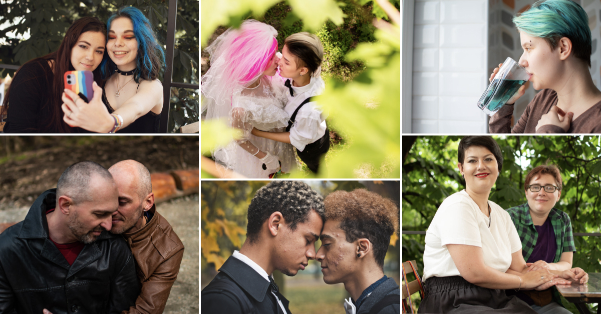Collage of images showing the LGBTQ community, couples, and individuals